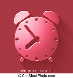Flat metallic time 3D icon. Red Glossy Metal Alarm Clock on Red background. EPS 10, vector.