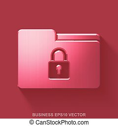 Flat metallic business 3D icon. Red Glossy Metal Folder With Lock on Red background. EPS 10, vector.