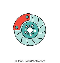 Brake disc flat line icon on white background