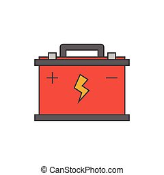 Car battery flat line icon on white background