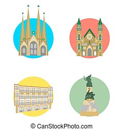 spain icons set - set of icons in the style of a flat design...