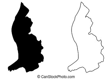 Lichtenstein map vector illustration, scribble sketch...