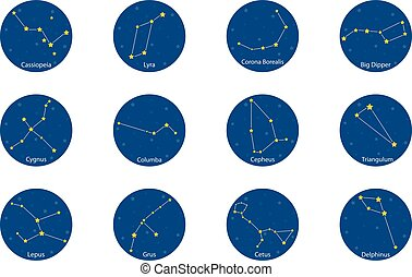 Constellations on blue round background, vector illustration