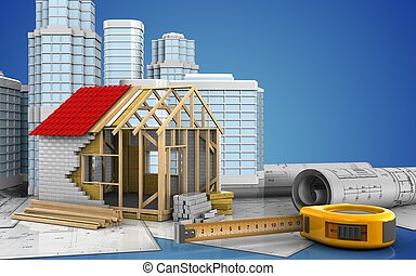 3d with urban scene - 3d illustration of frame house with...