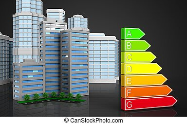 3d with urban scene - 3d illustration of living quarter with...