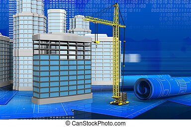 3d of crane - 3d illustration of building construction with...