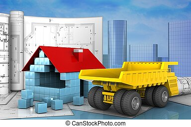 3d with drawings - 3d illustration of house blocks...