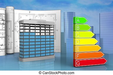 3d of power rating - 3d illustration of building...