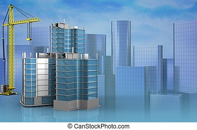 3d blank - 3d illustration of city quarter construction with...
