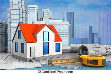 3d drawings rolls - 3d illustration of generic house with...
