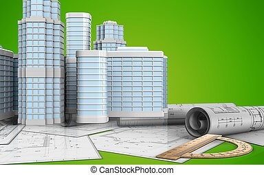 3d with urban scene - 3d illustration protractor with urban...