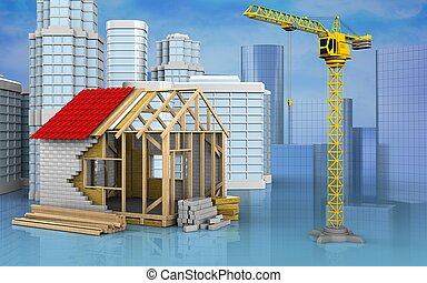 3d of crane - 3d illustration of frame house with urban...