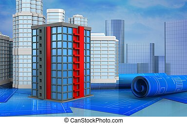 3d with urban scene - 3d illustration of building with urban...
