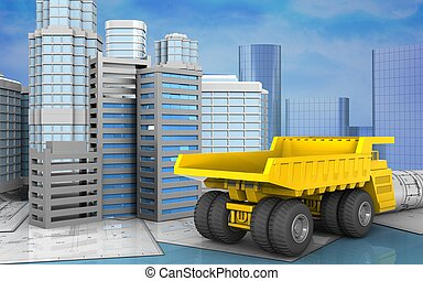 3d with urban scene - 3d illustration of city buildings...