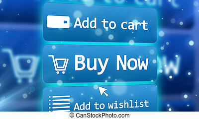 Internet shop in cyberspace with three icons - Hi-tech 3D...