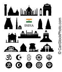 India Objects Icons Silhouette - Architecture Landmarks and...