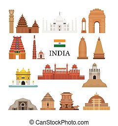 India Architecture Objects Icons Set - Landmarks, Travel and...