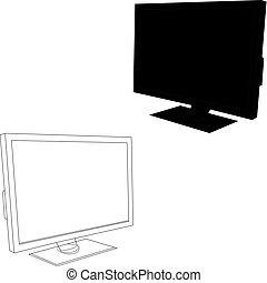 Computer screen, monitor, silhouette on a white background.
