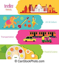 India Travel, Banner Set - Art and Culture, Transportation...