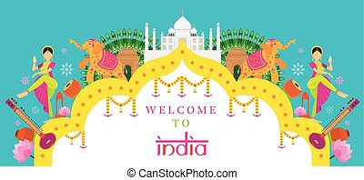 India Travel Attraction banner - Landmarks, Tourism and...