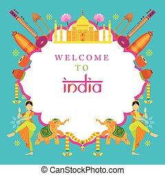 India Travel Attraction Frame - Landmarks, Tourism and...