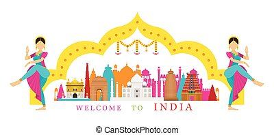 India Landmarks with Traditional Dancer - Culture, Travel...
