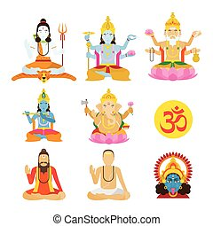 God of Hinduism and Priest Set - Deities, Lord, Character...