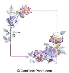 Wildflower rose flower frame in a vector style.
