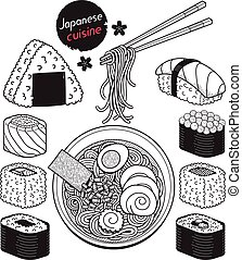 Japan food doodle elements hand drawn style. Vector...