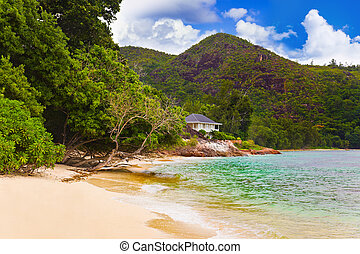 Hotel at tropical beach, Praslin, Seychelles - vacation...