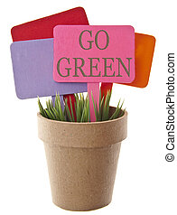 Go Green Environmental Concept with Vibrant Sign in Green...