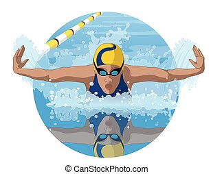 swimmer female in butterfly stroke - female swimmer in a...