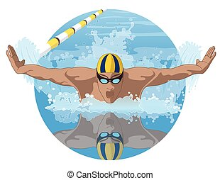 swimmer male in butterfly stroke - male swimmer in a...