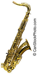 Cutout of Saxophone - Golden saxophone isolated on white...