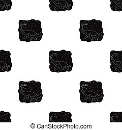 Sea dinosaur icon in black style isolated on white...