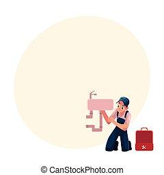 Plumbing specialist, plumber repairing kitchen sink,...