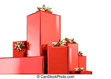 christmas presents - christmas gifts isolated over white...