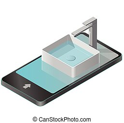 Bathroom sink in mobile phone. Isometric basin with tap and...
