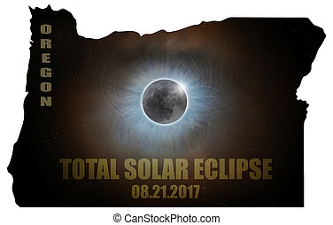 Total Solar Eclipse in Oregon Map Outline - Total Solar...