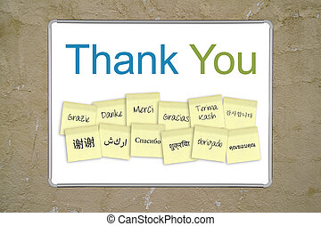 "Thank you sign - A whiteboard with the words ""thank you"" in..."