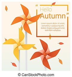 Hello autumn background with colorful pinwheels 2 - Hello...
