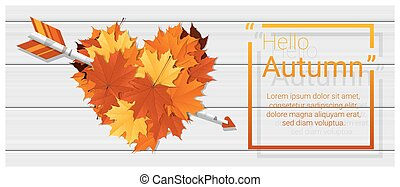 Hello autumn background with heart shape leaves and arrow on...
