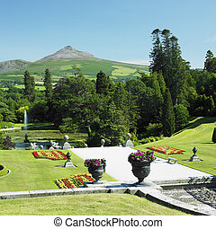 Powerscourt Gardens, Sugar Loaf Mountain at the background,...