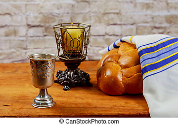 Shabbat or Sabbath kiddush ceremony composition with red...