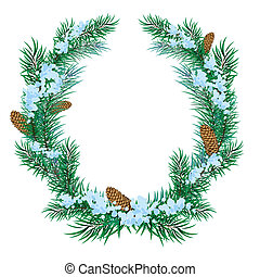The Christmas wreath of fir twigs