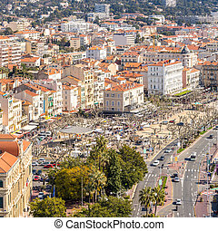 aerial view of Cannes France - aerial view of Le Suquet- the...