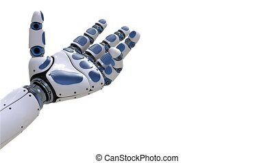 4K. Robot Arm. Futuristic robotic hand in motion on white....