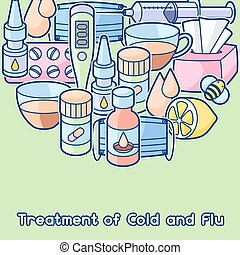 Background with medicines and medical objects. Treatment of...