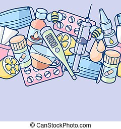 Seamless pattern with medicines and medical objects....