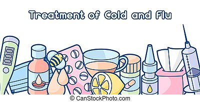Banner with medicines and medical objects. Treatment of cold...